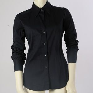 THEORY Navy Button Down Shirt Blouse Size P